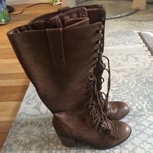 Shoes - Lace up high boots with inside zipper
